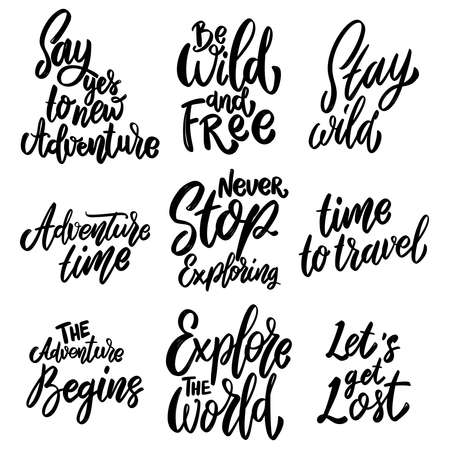 Mountain tourism, hiking, adventures. Set of Lettering phrases on white background. Design element for poster, card, banner, sign. Vector illustration