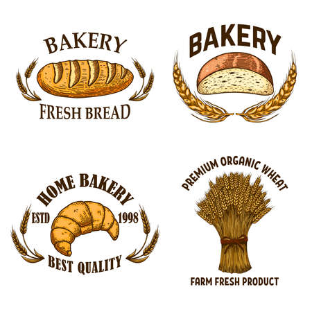 Bakery. Set of emblems with bread in engraving style. Design element for poster, card, banner, sign. Vector illustration