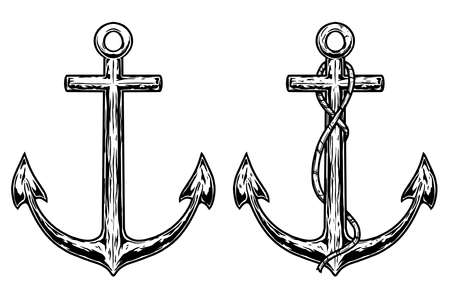 Set of Illustrations of retro anchors in engraving style. Design element for emblem, sign, poster, card, banner, flyer. Çizim