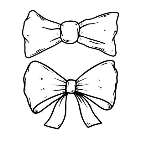 Illustration of bow knot in engraving style. Design element for poster, card, banner, sign. Vector illustration Çizim