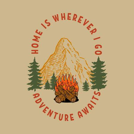 Vintage illustration of mountain landscape with campfire. Design element for poster, card, banner, emblem, sign. Vector illustration. Vector illustration Illusztráció