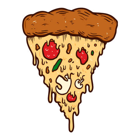 illustration of slice of pizza. Design element for poster, card, banner, sign. Vector illustration Ilustração
