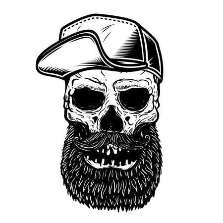 Illustration of bearded skull in baseball cap. Design element for label, sign, poster. Vector illustration Vetores