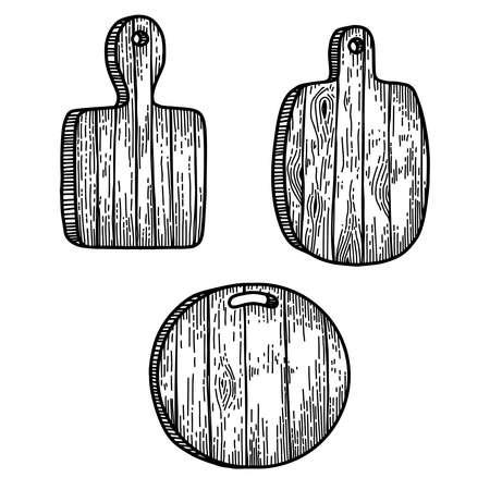Set of illustrations of kitchen boards in engraving style. Design element for poster, card, banner, sign. Vector illustration Ilustracje wektorowe