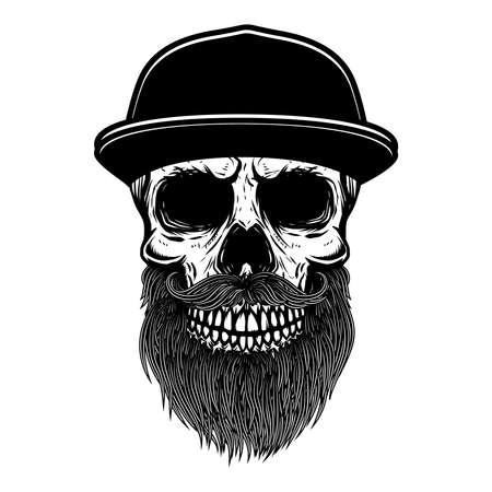 Illustration of bearded skull in baseball cap. Design element for label, sign, poster. Vector illustration