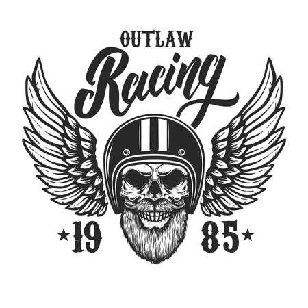 Racing. Bearded skull in winged racer helmet. Design element for label, sign, emblem, poster, t shirt. Vector illustration