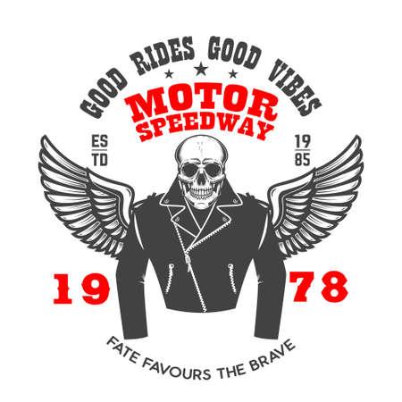 Emblem template with winged racer skeleton. Design element for label, sign, emblem, poster. Vector illustration