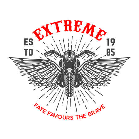 Extreme. Emblem template with winged motorcycle. Vettoriali