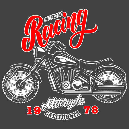 Outlaw racing. Emblem template with old style motorcycle.