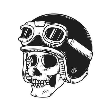 Illustration of biker skull in racer helmet. Design element for label, sign, emblem, poster. Vector illustration