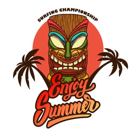 Enjoy summer. Emblem template with tiki idol and palms. Design element for poster, card, banner, sign, emblem. Vector illustration