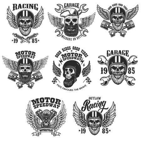 Set of the emblems with bearded skull in racer helmet with wings.