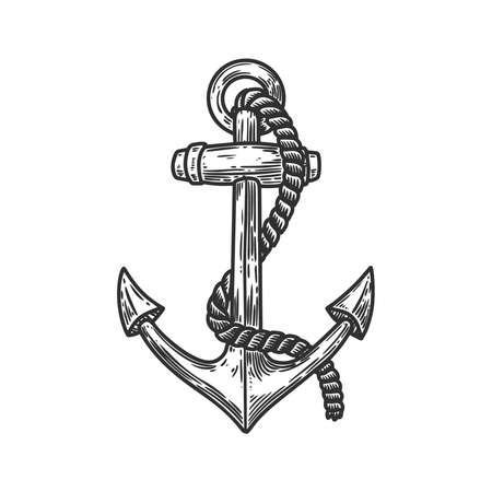 Illustration of the anchor in engraving style. Design element for poster, card, banner, sign, logo. Vector illustration