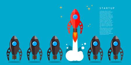 Rocket launch. Business startup concept. Design element for poster, card, banner, sign. Vector illustration Illustration