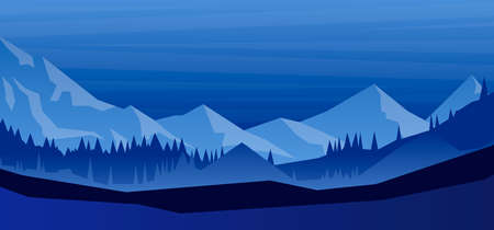 Cartoon mountain landscape with fir trees in flat style. Design element for poster, card, banner, flyer. Vector illustration