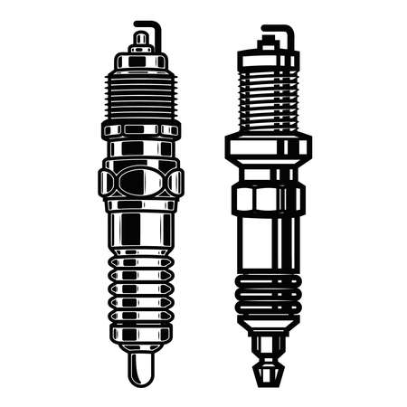 Illustrations of car spark plugs in engraving style. Design element for poster, card, banner, sign. Vector illustration