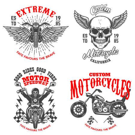 Set of the racer emblems. Winged racer skull, motorcycle, biker skeleton. Design element for logo, label, sign, emblem, poster, t shirt. Vector illustration