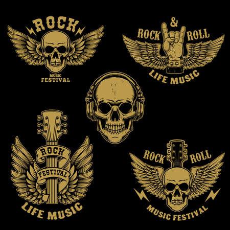 Set of rock and roll emblems.Winged rock guitar. Design element for poster, card, banner, sign, logo. Vector illustration