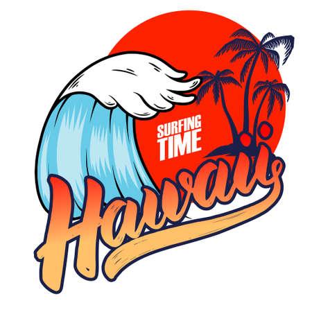Hawaii. Emblem template with sea waves and palms. Design element for poster, card, banner, sign, emblem. Vector illustration