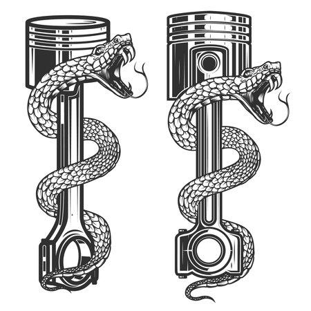 Illustration of snake on car piston. Design element for poster, card, banner, sign. Vector illustration