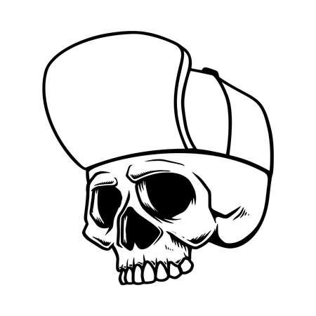 Skull in baseball hat isolated on white background. Illustration