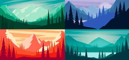 Set of cartoon mountain landscape in flat style. Design element for poster, card, banner, flyer. Vector illustration