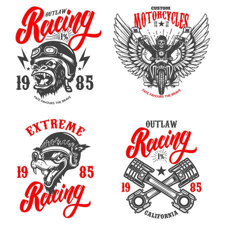 Set of the racer emblems. Crossed pistons, gorilla biker, motorcycle, biker skeleton.