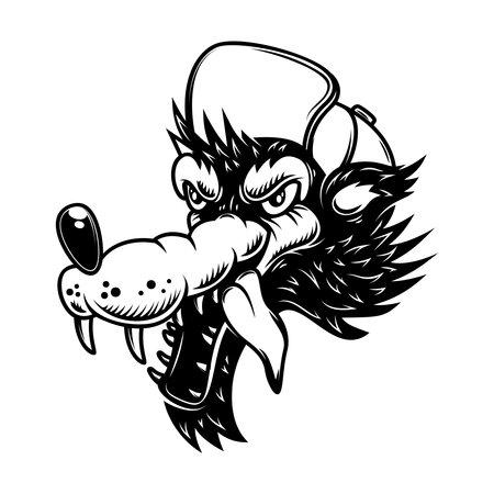 Illustration of cartoon wolf in baseball cap. Design element for poster, card, banner, sign . Vector illustration