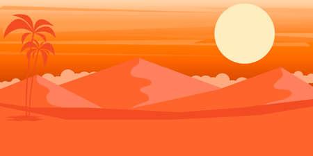 Cartoon desert landscape in flat style. Design element for poster, card, banner, flyer. Vector illustration Illustration