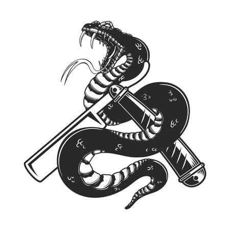Illustration of snake on barber razor. Design element for poster, card, banner, sign. Vector illustration