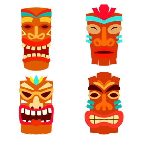 Set of Illustration of tiki idol in flat style. Design element for label, sign, poster. Vector illustration