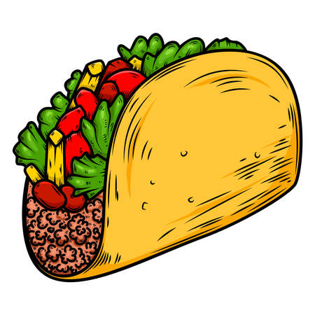Illustration of delicious taco. Design element for poster, card, banner, sign. Illustration