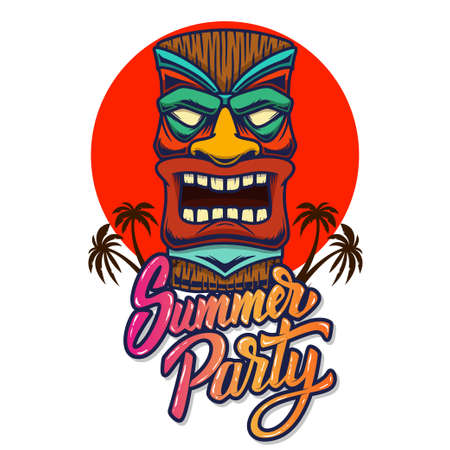 Summer party. Emblem template with tiki idol. Design element for poster, card, banner, sign, emblem. Vector illustration