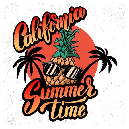 California summer time. Emblem template with pineapple, waves and palms. Design element for poster, card, banner, sign, emblem. Vector illustration Illustration