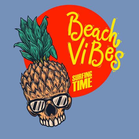 Beach vibes. Pineapple skull with sunglasses. Design element for poster, card, banner, sign, emblem. Vector illustration Illustration