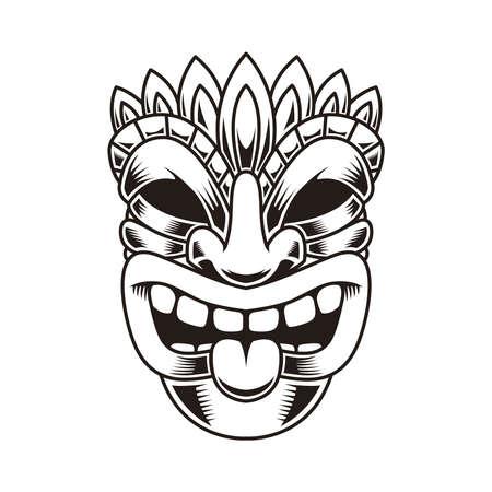 Illustration of tiki idol. Design element for  label, sign, poster. Vector illustration