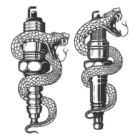 Illustration of snake on car spark plug. Design element for poster, card, banner, sign. Vector illustration