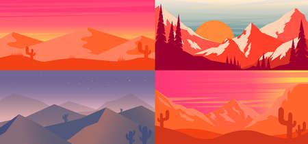 Set of cartoon desert landscape in flat style. Design element for poster, card, banner, flyer. Vector illustration Illustration