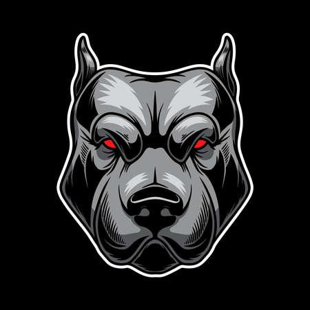 Illustration of angry dog head. Design element for  , label, sign, emblem, poster. Vector illustration