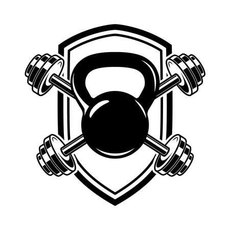 Emblem with kettlebells and barbells. Design element, label, sign, emblem, poster. Vector illustration