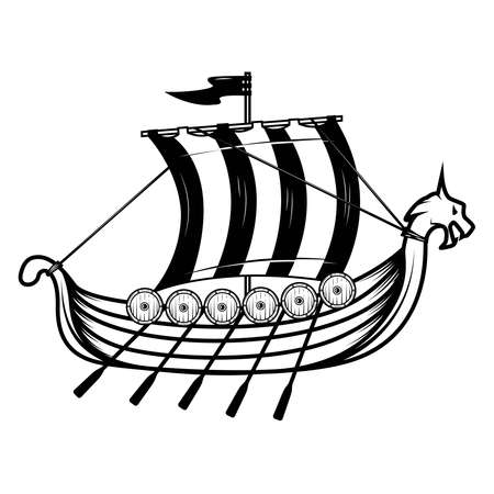 Vikings ship. Drakkar. Design element for poster, emblem, sign. Vector illustration