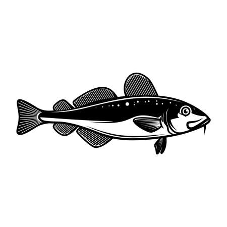 Illustration of cod fish. Design element for poster card, emblem, sign. Vector illustration Illustration
