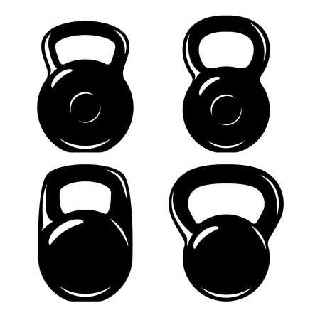 Illustration of set of fitness kettlebells. Design element, label, sign, emblem, poster. Vector illustration Illustration