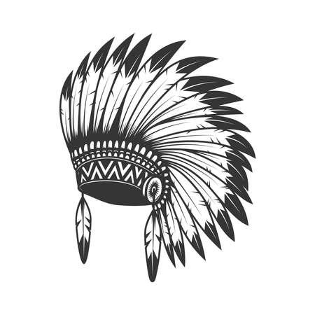 Illustration of native american headdress. Design element, label, sign, emblem, poster. Vector illustration Illustration