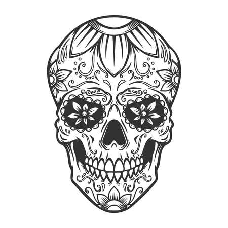 Illustration of mexican sugar skull. Design element, label, sign, poster. Vector illustration