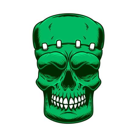 Illustration of the skull of frankenstein monster in engraving style. Design element for poster, card, banner, sign. Vector illustration