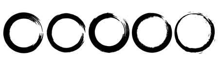 Set of grunge circles from brush strokes. Design element for poster, emblem, sign. Vector illustration