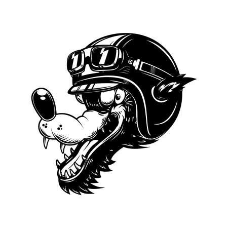 Illustration of cartoon wolf in racer helmet. Design element for poster, card, banner, sign. Vector illustration