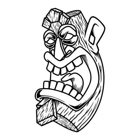Illustration of tiki idol. Design element, label, sign, poster. Vector illustration