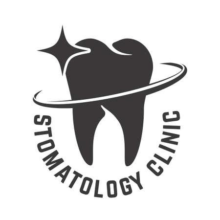 Dental clinic emblem template. Design element for poster, card, banner, sign. Vector illustration Illustration